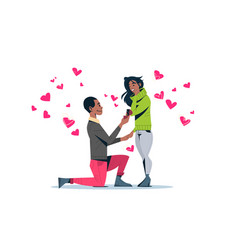Man kneeling holding engagement ring proposing vector
