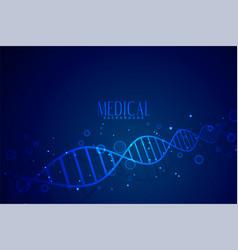 Medical dna in blue color background design vector