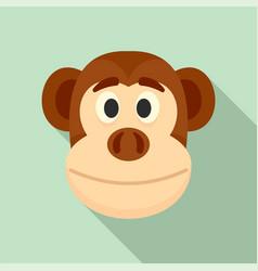 Monkey head icon flat style vector