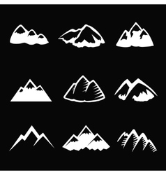 Mountain white icons set Tourism simbols vector