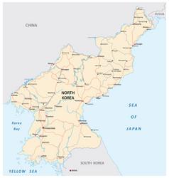North korea road map vector