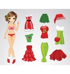 Paper Christmas Brunette Doll vector