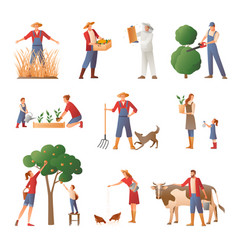 people in farming flat icons set vector image