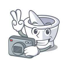 Photographer mortar mascot cartoon style vector