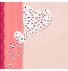 Pink frame with contour hearts vector image