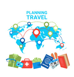 Planning travel concept pointers on world map vector