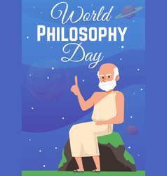 Poster for world philosophy day with antique greek vector