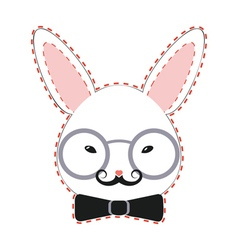 Rabbit Head with Glasses2 vector image