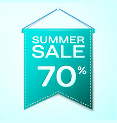Realistic green pennant with summer sale seventy vector