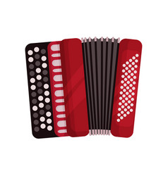 Red accordion classical bayan musical instrument vector