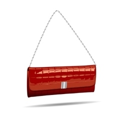 Red women bag isolated on white photo-realistic vector