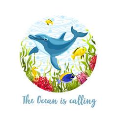 Sea life print vector