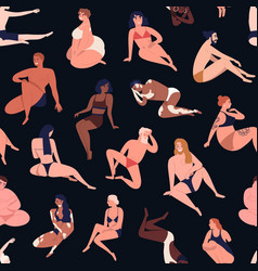 seamless pattern multiracial body positive vector image