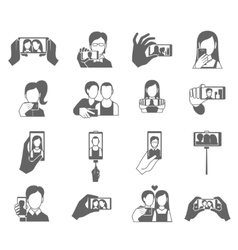 Selfie Icons Set vector