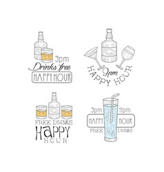 set 4 creative promotion signs vector image