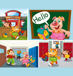 Set animal student at school background vector