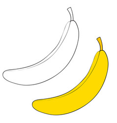 set banana painted with black lines and painted vector image