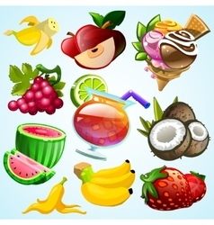 Set of colorful fruit ice cream and coctail vector