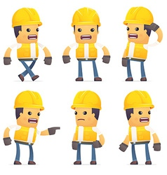 Set of contractor character in different poses vector