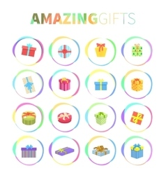 Set of Gifts Boxes Design Flat vector image