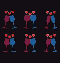 set of wine glasses and heart icons vector image