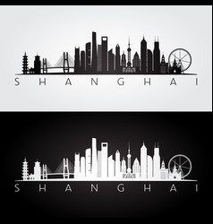 Shanghai skyline and landmarks silhouette vector