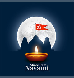 Shree ram navami wishes card with temple and diya vector