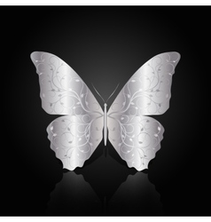 Silver abstract butterfly on black background vector