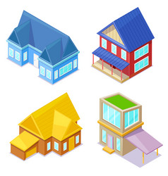 sometric cottages on white background vector image