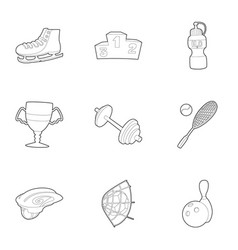 sport icons set outline style vector image