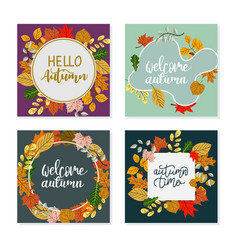 square autumn banner template elegant frame made vector image