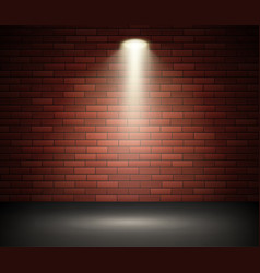 stage illuminated spotlight against brick wall vector image