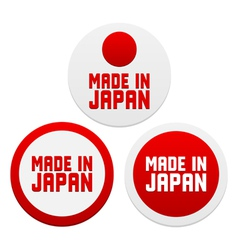 Stickers with Made in Japan vector