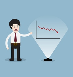 Stock crisis with business man presentation and vector