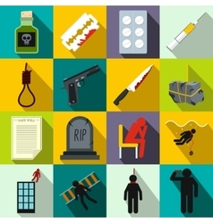 Suicide icons set flat style vector image