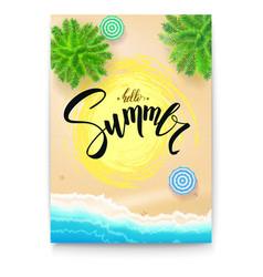 Summer beach seashore summer poster with vector
