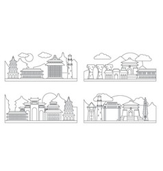 Taipei taiwan banner concept set outline style vector