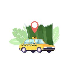 taxi car map and navigation pin yellow taxicab vector image