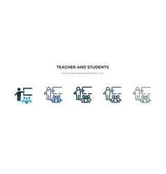 teacher and students icon in different style two vector image