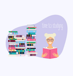 time to studying girl reading a book science vector image