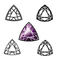 Trillion gemstone cut -diamond vector