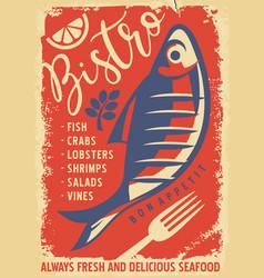 vintage seafood menu for restaurant or bistro vector image