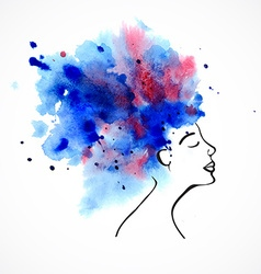 Watercolor silhouette of beautiful women vector image