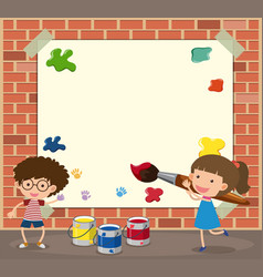 White paper template with boy and girl painting vector