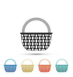 wicker basket icon isolated on white background vector image