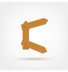 Wooden Boards Letter C vector image