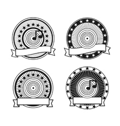 Black and white retro musical record stamp vector image vector image