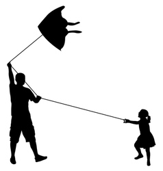 father and daughter playing with kite vector image