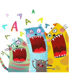 fun cats and mouse karaoke singing song vector image vector image