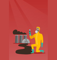 Man in gas mask and radiation protective suit vector